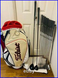 Mens Complete Golf Club Set 12 Piece RH with Titleist Caddy bag From Japan