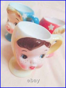 NAPCO Miss Cutie Pie Egg Stands Complete Set of 3 Genuine Vintage F/S from Japan