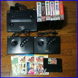 SNK Neo Geo AES Console System Complete /Controller/ 7 software sets From Japan