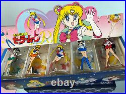 Sailor Moon R Glass cups tumbler set of 5 complete Vintage From Japan RARE 90's